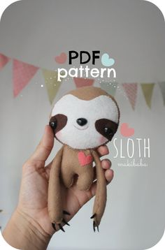 Sloth Pdf Sewing Pattern, Easy Diy Tag-Along Softie, Baby Sloth, Sewing Tutorial