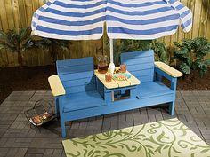 DIY Side By Side Patio Chairs but make a 3 seater out of it. Wooden Patio Chairs, Wooden Patios, Outdoor Furniture Chairs, Pallet Furniture, Arm Chairs, Woodworking Projects Diy, Diy Wood Projects, Woodworking Tools, Adirondack Chair Plans