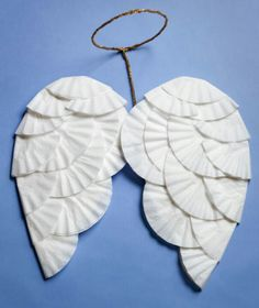 Cute Angel wings using cardboard and coffee filters!....christmas parade idea for Countryside!! :)