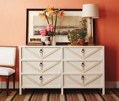 Ikea Hacks on Thrifty Thursday: Give a plain dresser an instant update. Add stock wood trim to the drawer fronts in a chevron style pattern. Brass pulls give it even more charm. Chevron Trimmed Dresser Tutorial
