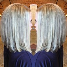 Icy blonde balayage highlights with a long inverted bob. #blondeme #framarint…