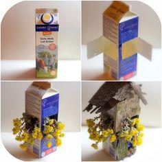 Daily Colours : Fairy Houses - DIY Milk Carton Flower Fairy Home.Inexpensive and wonderful! Fairy Crafts, Garden Crafts, Diy And Crafts, Paper Crafts, Fairy Furniture, Fairy Garden Houses, Fairy Gardening, Fairy Garden Accessories, Flower Fairies