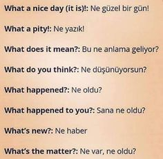 Pinterest: @çikolatadenizi Instagram: @ingilizce.gunluk English Words, English Lessons, English Grammar, Learn English Kid, What A Nice Day, Turkish Lessons, Learn Turkish Language, European Languages, Grammar And Vocabulary