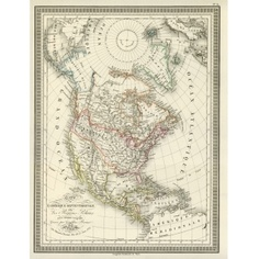Antique North America Map - Wallpaper - £21.95 Antique World Map, Vintage World Maps, World Map Wallpaper, North America Map, Antiques, Photography, Image, Antiquities, Photography Business