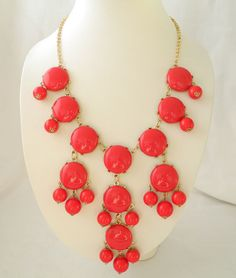 Big Size Red Bubble Necklace Red Statement by SweetDesignJewelry, $8.00