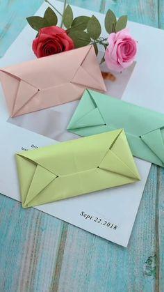 Cool Paper Crafts, Paper Crafts Origami, Diy Paper, Diy Crafts Hacks, Diy Crafts For Gifts, Diy Envelope Tutorial, Diy Envelope Template, Box Cards Tutorial, Origami Tutorial