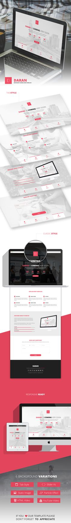 Daran is a modern, creative and minimalist Coming soon / Under construction template. It is built with latest Bootstrap framework so this template will look great on mobile devices. This template c...