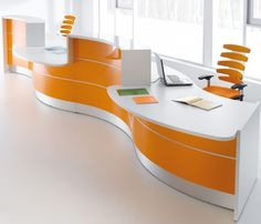 Unique Office Desks With Watch: Cool Office Furniture – Modern Office Designs On Other Curved Reception Desk, Curved Desk, Reception Desks, Reception Counter, Mesa Home Office, Home Office Desks, Office Chairs, Office Workstations, Modern Office Design