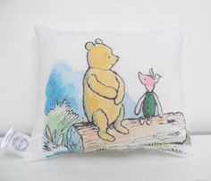 Winnie the Pooh and Piglet Cotton Mini Pillow on Etsy, $14.99