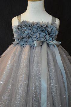 Platinum Hydrangea Flower girl tutu dress by TutuSweetBoutiqueINC, $55.00