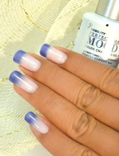 "LeChat Mood Gel Polish in ""Partly Cloudy""...coolest thing ever since mood rings. Nail Color adjust to your body temperature....my nails go from white, to blue tip, to light blue to deep blue within hours! Depends on the heat!"