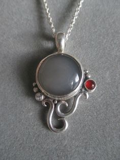 One of a Kind Sterling Silver Gray Moonstone Pendant by RichelleJewelry on Etsy