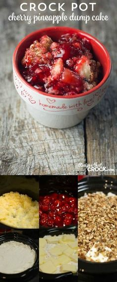 Crock Pot Cherry Pineapple Dump Cake:  Are you looking for a super easy dessert recipe that you can just throw together? This slow cooker dessert only takes 5 minutes to put together!