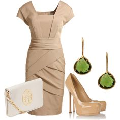 """Work It"" by cashj on Polyvore  Nude Kate Middleton inspired dress, with great accessories"
