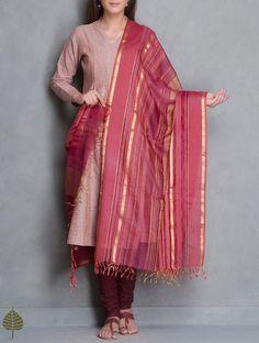 Buy Coral Gold Maheshwari Silk Cotton Dupatta with Woven Zari Border by Jaypore Accessories Dupattas Power Dressing Katan Kurtas Pants & More Pintuck Details Online at Jaypore.com
