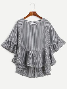 Black Vertical Striped Lattice-Back Ruffle High Low Top -SheIn(Sheinside) Mobile Site