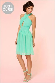 LuLu*s Exclusive! What makes the This Twist, This Twist Mint Green Halter Dress