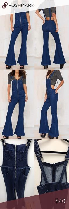 Glamorous Peace of Me Denim Overalls Because lookin' like the ultimate '70s babe is never a bad thing. These killer denim overalls feature an exposed silver zip closure at front, adjustable shoulder straps with front closures, a flared leg, and pockets at front and back. Unlined, slight stretch in fabric. Pair them with platforms, oversized sunnies, and a little crop tee. By Glamorous. Brand new items currently selling at my store in Sacramento  *Cotton/Polyester/Elastane  *Model is wearing…