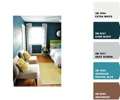 gray walls, blue accent wall, brown furniture, dark and blue accents