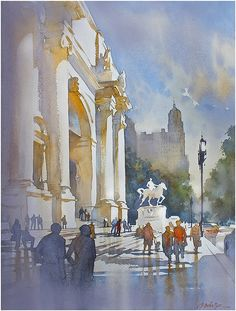 """museum of natural history - nyc"" thomas w schaller watercolor 24x18 inches 06 january 2014"