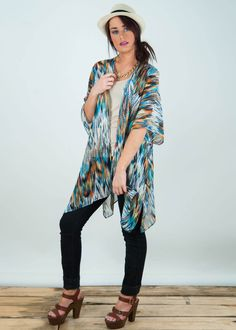 Love blues and browns! ♥ Agnes & Dora's kimono - with floral, modern, and vintage prints to keep you on trend.