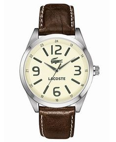 Lacoste Watch, Men's Montreal Brown Leather Strap 44mm 2010618 - Watches - Jewelry & Watches - Macy's