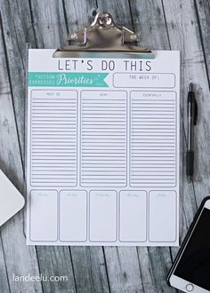 Free Printable To Do List Weekly Planner. US Letter size paper. To Do Lists Printable, Printable Planner Pages, Free Printables, Printable Calendars, Printable Labels, Office Organization At Work, Planner Organization, Organizing Ideas, Printable Organization