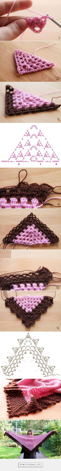 Pattern: Vintage Sweet Shawl (EN) - created via http://pinthemall.net, #crochet, free chart and turorial, #haken, omslagdoek, gratis schema en tutorial, mooie rand