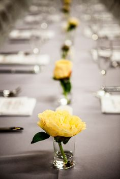 Wedding reception table; flowers by Pot & Box, photo by Sam Doyle Photography.