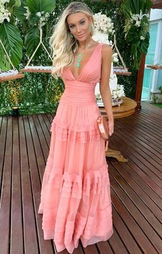 V-Neck Falbala Floor-Length Layered Dress Sweet Dress Long Prom Dress – classygown A Line Prom Dresses, Dresses For Sale, Maxi Dresses, Evening Dresses, Casual Dresses, Plain Dress, Sweet Dress, Beautiful Dresses, Ideias Fashion