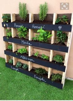 Chalk paint labels on a vertical planter