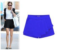 6 Цветs 5 Размерs Summer Ladies Asymmetrical Geometric Shape TieКрасный Шорты Повседневный Trousers Culottes Шорты With Invisible Молния