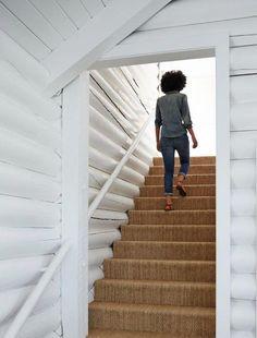 sisal girl walking up stairs Trinette Reed cropped Living Room Carpet, Bedroom Carpet, Plush Carpet, Rugs On Carpet, Walking Up Stairs, Carpet Staircase, Staircase Remodel, Basement Carpet, Hall Carpet