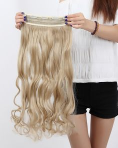S-noilite 17 Inches 43CM Curly Ash Blonde 3/4 Full Head Clip in Hair Extension One Piece 5 Clips *** New and awesome product awaits you, Read it now  : Hair Loss