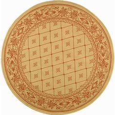 Safavieh Summer Natural/ Terracotta Indoor/ Outdoor Rug (6'7 Round), Brown (Polypropylene, Border)
