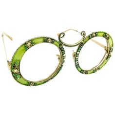 1960s Christian Dior Gold Filled Green Enamel Round Eye Sunglasses Frame   From a collection of rare vintage sunglasses at https://www.1stdibs.com/fashion/accessories/sunglasses/