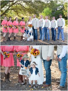 coral, turquoise, and denim fall wedding with cowboy boots at Twisted Ranch in Bertram, Texas; Country Wedding Style with sunflower bridal bouquet