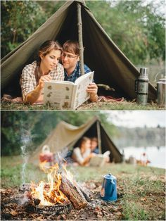 Fall camping themed engagement photos  - click to view more!