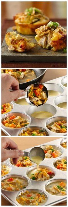 Чудные маффины с овощами и курицей Готовится элементарно, а вкус волшебный! Готовим классический бисквит, но без сахара. Можно добавить совсем немножечко, по вкусу. Ингредиенты: ●1 стакан муки, ●4 яйца ●щепотка соли Приготовление: Смажьте формочки подсолнечным маслом и добавьте немного смеси бисквита. Добавляем начинку - курица, морковка, лучок. И вообще, в начинку можете класть все, что душе пожелает! Как на пиццу)) Заливаем оставшимся бисквитом и отправляем в духовку на 25-30 минут, Такое…