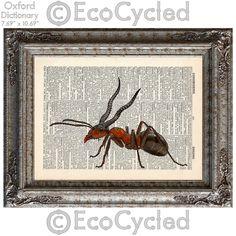 New to EcoCycled on Etsy: ANTalope Ant with Antelope Antlers on Vintage Upcycled Dictionary Art Print Book Art Print Amazing Animalia (10.00 USD)