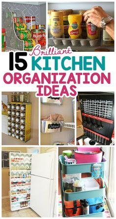 15 Brilliant Kitchen Organization Ideas - I Heart Arts n Crafts Kitchen Storage Hacks, Small Kitchen Organization, Recipe Organization, Kitchen Hacks, Organization Hacks, Diy Kitchen, Organizing Ideas, Kitchen Ideas, Kitchen Organizers