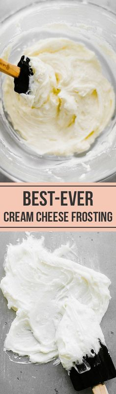The BEST Cream Cheese Frosting that's not too sweet but full of vanilla flavor and can be made ahead of time! #creamcheese #creamcheesefrosting #frosting #recipe #frostingrecipe