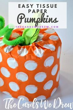 Learn how to make these cute and easy Tissue Paper Pumpkins. These are the perfect kids craft idea to use as a school Halloween party craft or fall party craft. They are inexpensive and all you need is toilet paper, tissue paper, and a pipe cleaner to create these. No glue or mess required! #halloweencrafts #kidscrafts #fallcrafts Halloween Crafts For Kids, Easy Crafts For Kids, Fall Crafts, Halloween Party, Kids Toilet, Paper Pumpkin, Fall Diy, Business For Kids, Craft Party