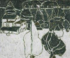 David Milne (Canadian, 1882-1953), Black and White Trees and Buildings, 1915-16. Oil on canvas, 51.5 x 61.5 cm. National Gallery of Canada, Ottawa.