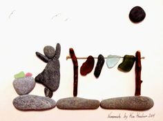 Beach Glass and Rocks Nomemade Beach Art