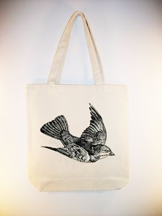 I just listed Beautlful Flying Bird illustration on 15x15 Canvas Tote -- larger zip top tote size available on The CraftStar #thecraftstar #uniquegifts