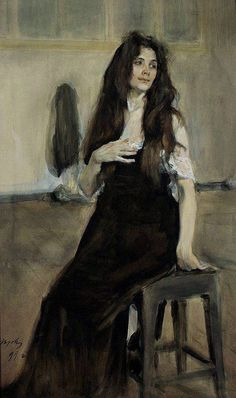 Model with flowing hair - Valentin Serov (1865 - 1911, Russia) Model with flowing hair. 1899 watercolor on paper.