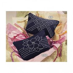 Small Sashiko Clutch - indigo fabric.