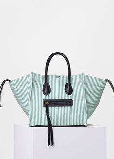 2488e98ba550 Medium Luggage Phantom Handbag in Textile Stripes - Céline Sacos De Luxo,  Celine, Tela