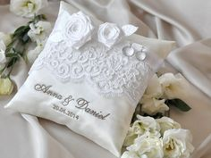 Lace Wedding Pillow  Ring Bearer Pillow by DecorisWedding on Etsy, $35.00